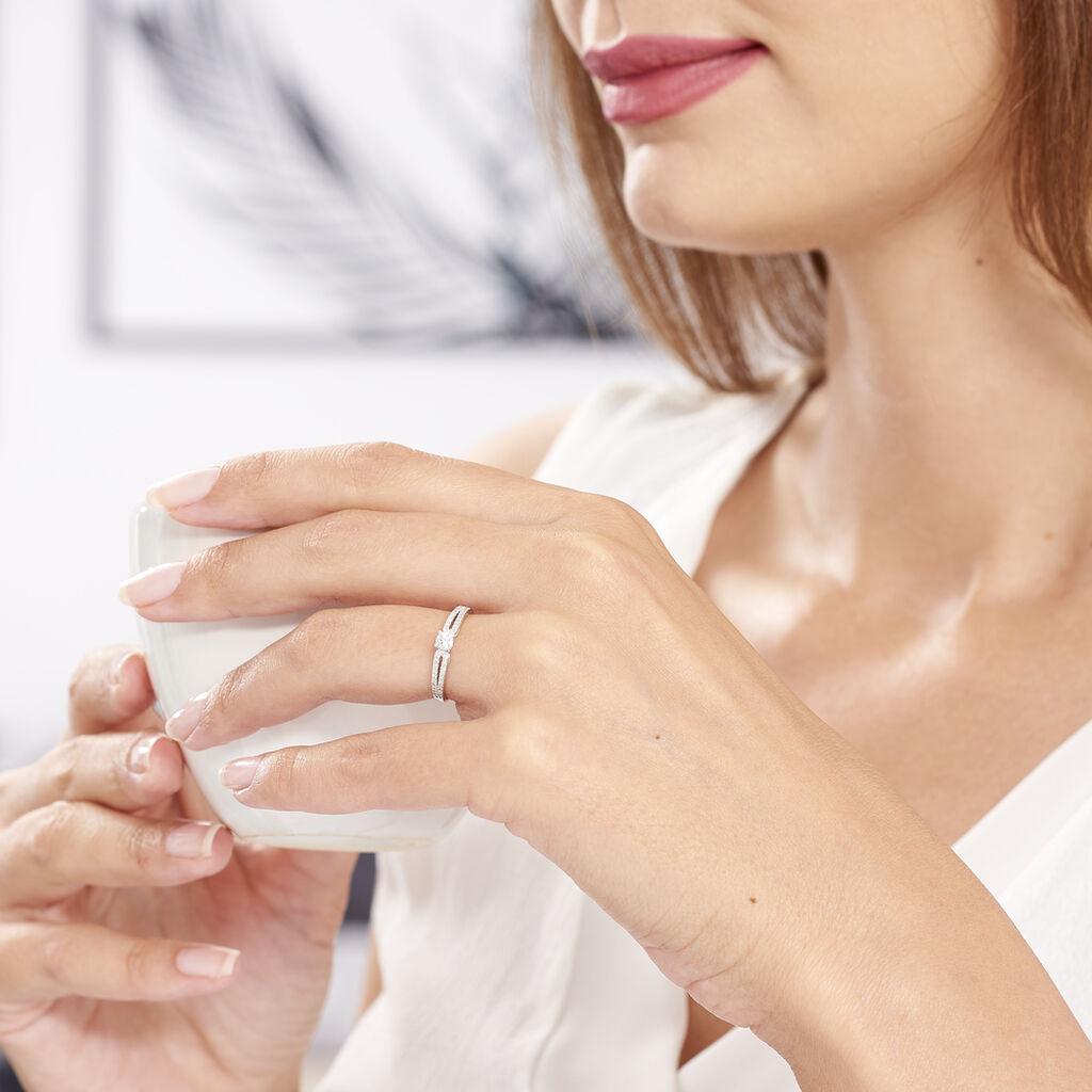 Bague Solitaire Katalina Or Blanc Diamant - Bagues solitaires Femme   Histoire d'Or