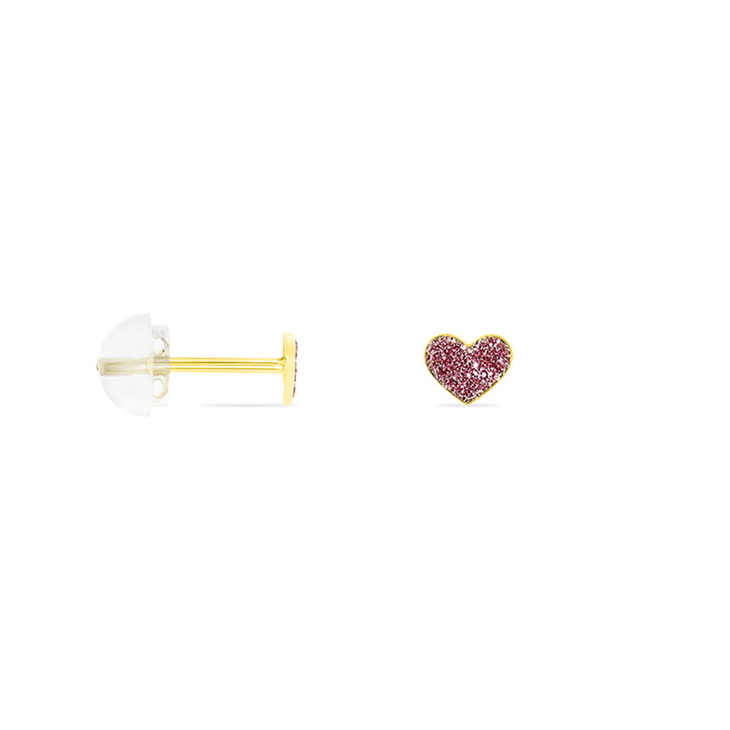 Boucles D'oreilles Puces Cerine Coeur Or Jaune - Boucles d'Oreilles Coeur Enfant   Histoire d'Or