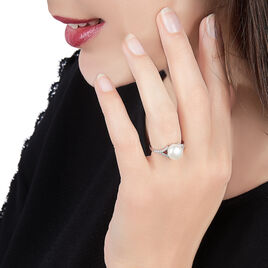 Bague Albine Argent Blanc Perle D'imitation Et Oxyde De Zirconium - Bagues avec pierre Femme   Histoire d'Or