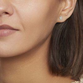 Boucles D'oreilles Puces Astre Argent Blanc - Boucles d'Oreilles Etoile Femme   Histoire d'Or
