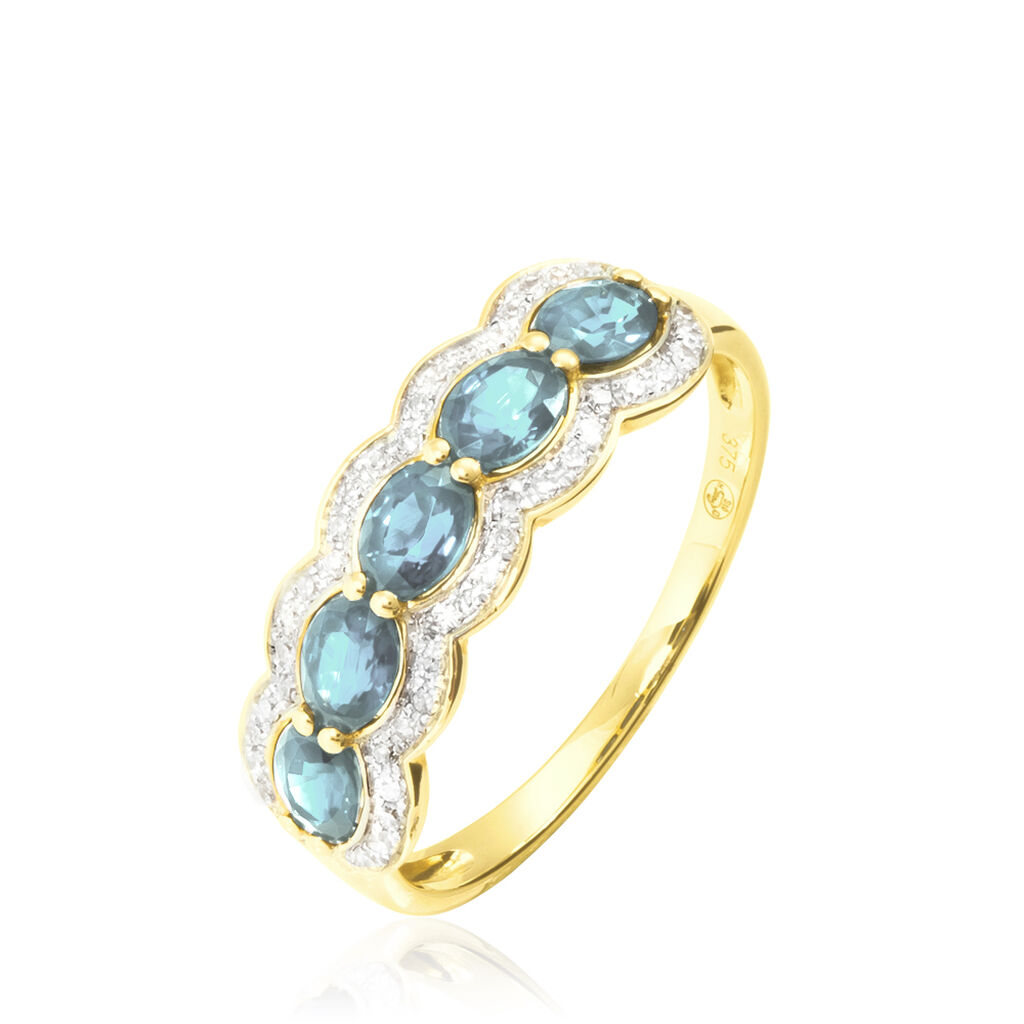 Bague Margaux Or Jaune Aigue Marine Et Diamant