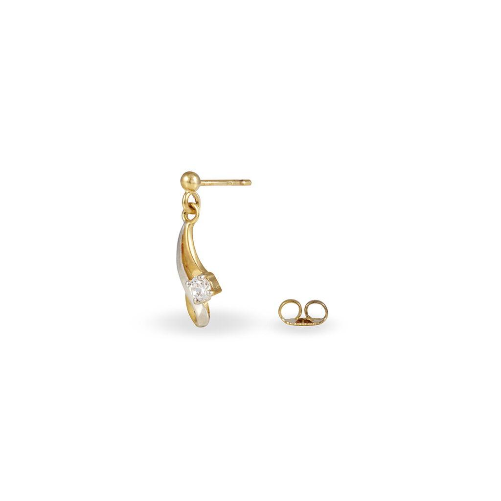 Boucles D'oreilles Pendantes Hinatea Plaque Or Bicolore Oxyde - Boucles d'oreilles fantaisie Femme | Histoire d'Or
