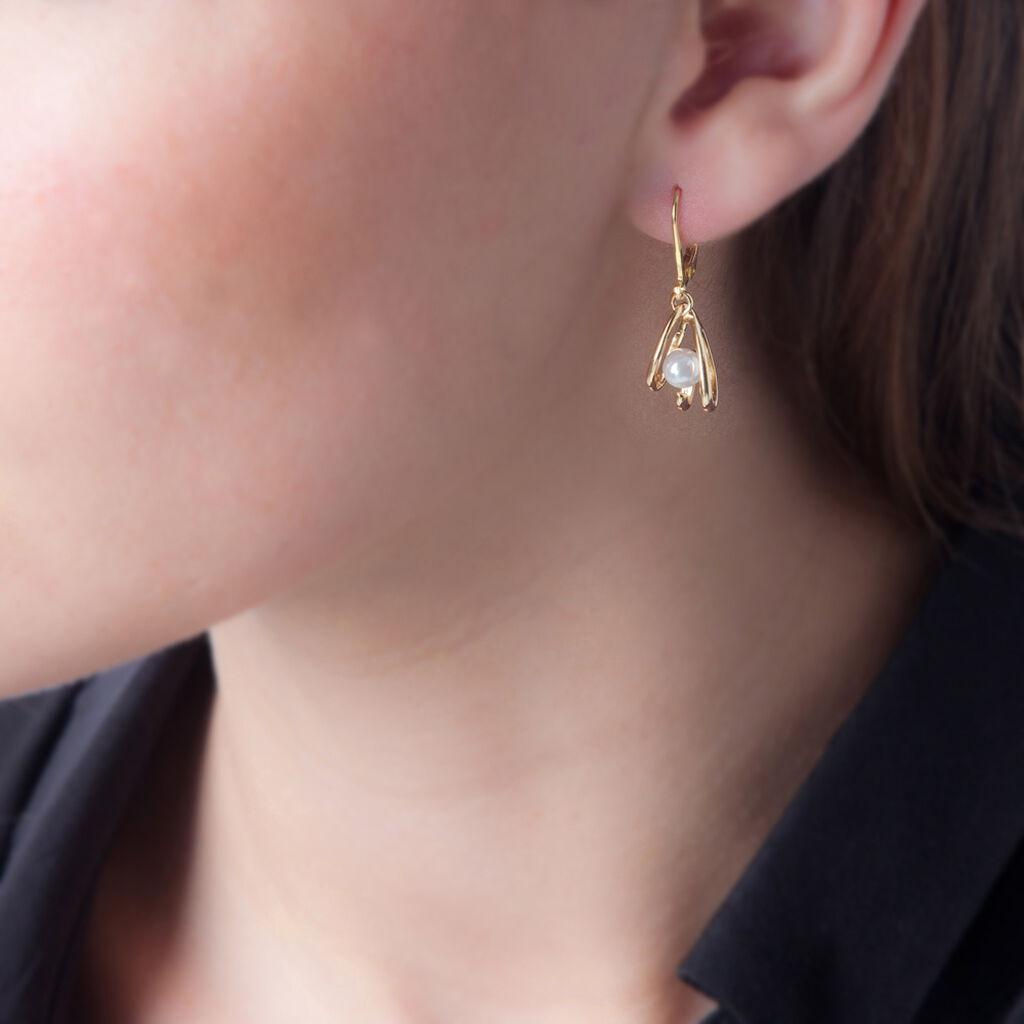 Boucles D'oreilles Pendantes Sanela Plaque Or Jaune Perle D'imitation - Boucles d'oreilles fantaisie Femme   Histoire d'Or