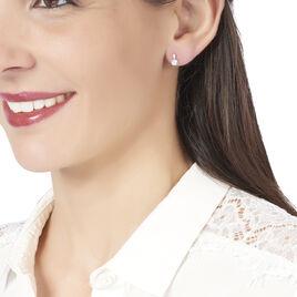 Boucles D'oreilles Puces Anysia Or Blanc Oxyde De Zirconium - Clous d'oreilles Femme | Histoire d'Or