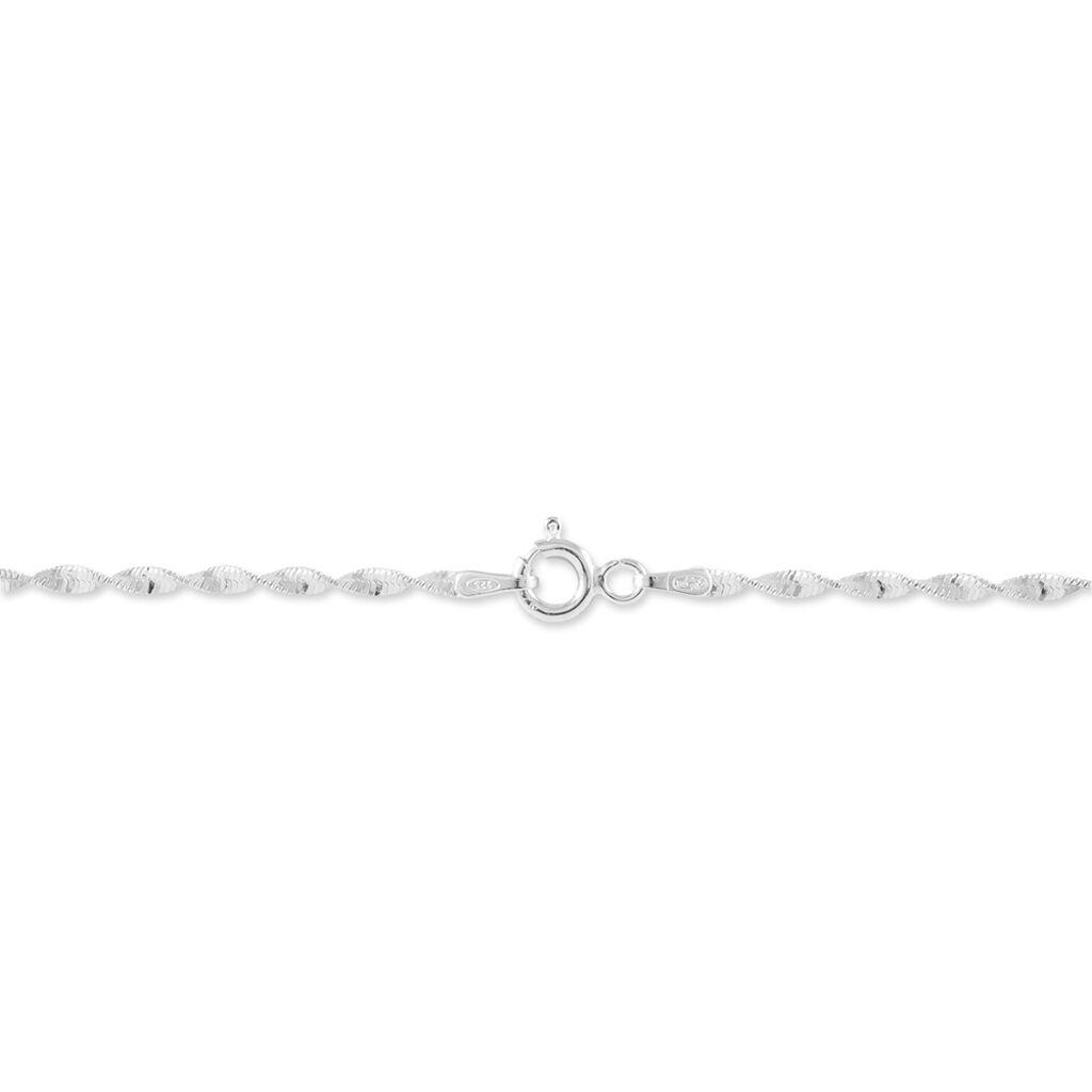 Bracelet Ciana Torsade Diamante Argent Blanc - Bracelets chaîne Femme   Histoire d'Or