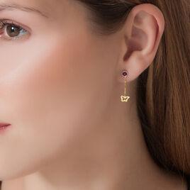Boucles D'oreilles Pendantes Or Jaune Amethyste - Boucles d'Oreilles Papillon Femme | Histoire d'Or