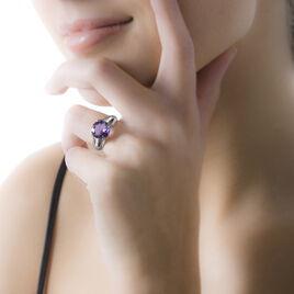 Bague Cecile Or Blanc Amethyste Et Diamant - Bagues avec pierre Femme   Histoire d'Or