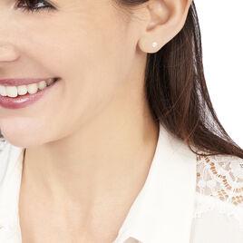 Boucles D'oreilles Puces Kesya Nacres Bouton Or Jaune Perle De Culture - Boucles d'Oreilles Plume Femme   Histoire d'Or