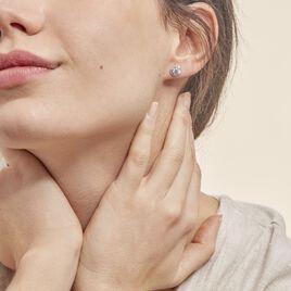Boucles D'oreilles Puces Stelila Or Blanc Oxyde De Zirconium - Clous d'oreilles Femme | Histoire d'Or