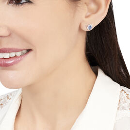 Boucles D'oreilles Puces Vladimir Or Blanc Saphir Et Diamant - Clous d'oreilles Femme   Histoire d'Or