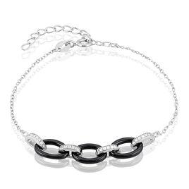 Bracelet Rhodie Argent Blanc Oxyde De Zirconium Et Céramique - Bracelets fantaisie Femme   Histoire d'Or