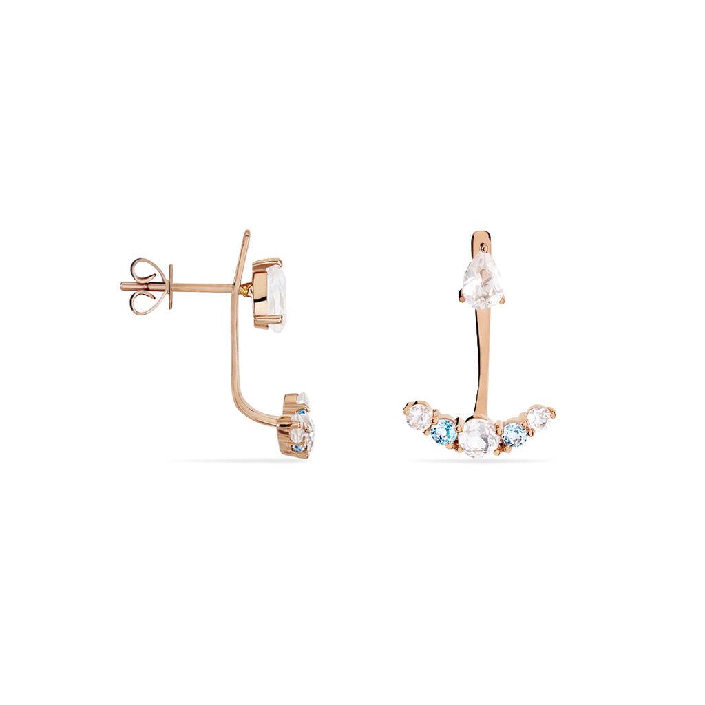 Bijoux D'oreilles Belen Or Rose Topaze Et Quartz - Ear cuffs Femme   Histoire d'Or