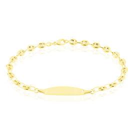Bracelet Identité Evin Maille Grain De Cafe Or Jaune - Bracelets Communion Enfant   Histoire d'Or