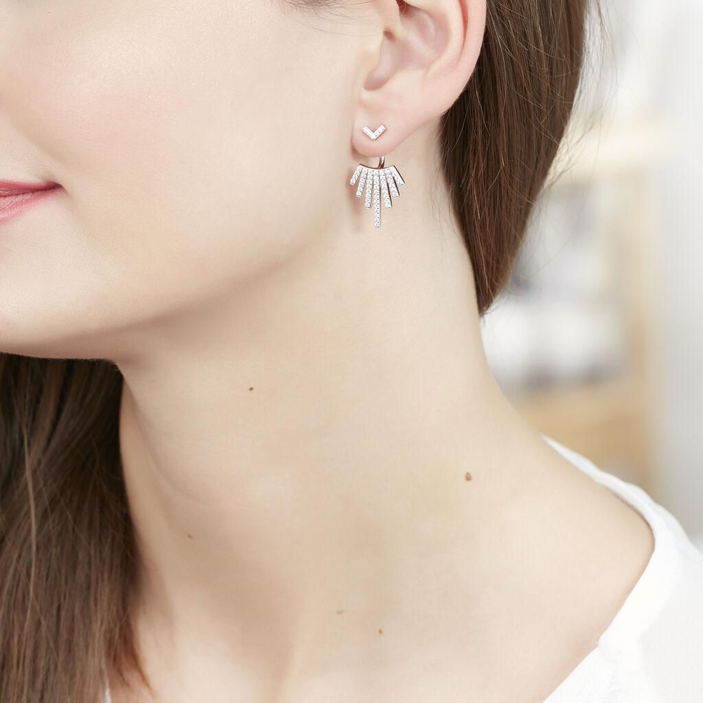 Bijoux D'oreilles Neli Argent Blanc Oxyde De Zirconium - Ear cuffs Femme | Histoire d'Or
