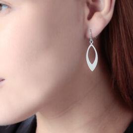 Boucles D'oreilles Pendantes Argent Blanc - Boucles d'Oreilles Plume Femme   Histoire d'Or