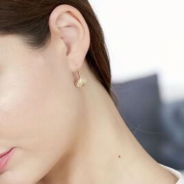 Boucles D'oreilles Pendantes Brita Plaque Or Jaune - Boucles d'Oreilles Plume Femme | Histoire d'Or