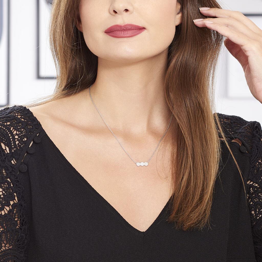 Collier Onaissa Argent Blanc Oxyde De Zirconium - Colliers fantaisie Femme   Histoire d'Or