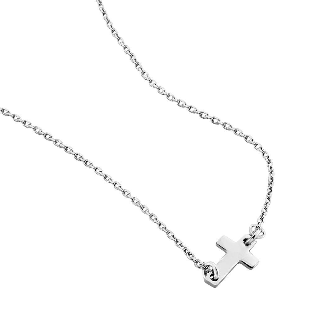 Collier Gaiana Argent Blanc - Colliers Croix Femme | Histoire d'Or