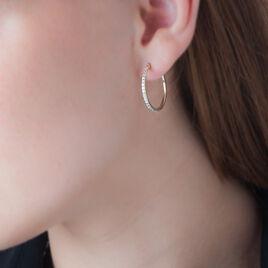 Creoles Or Jaune Fil Carre Strassee - Boucles d'oreilles créoles Femme | Histoire d'Or