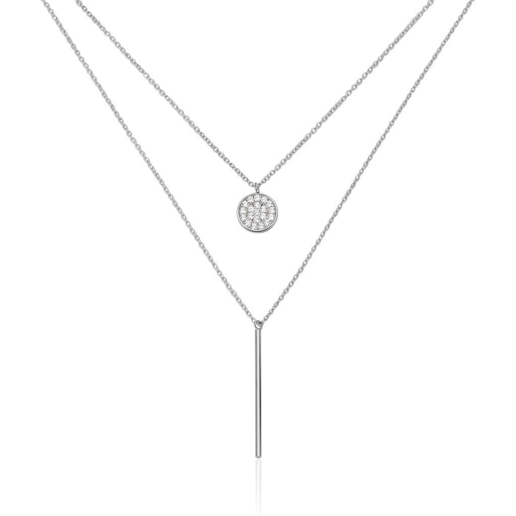 Collier Manna Argent Blanc Oxyde De Zirconium - Colliers fantaisie Femme | Histoire d'Or