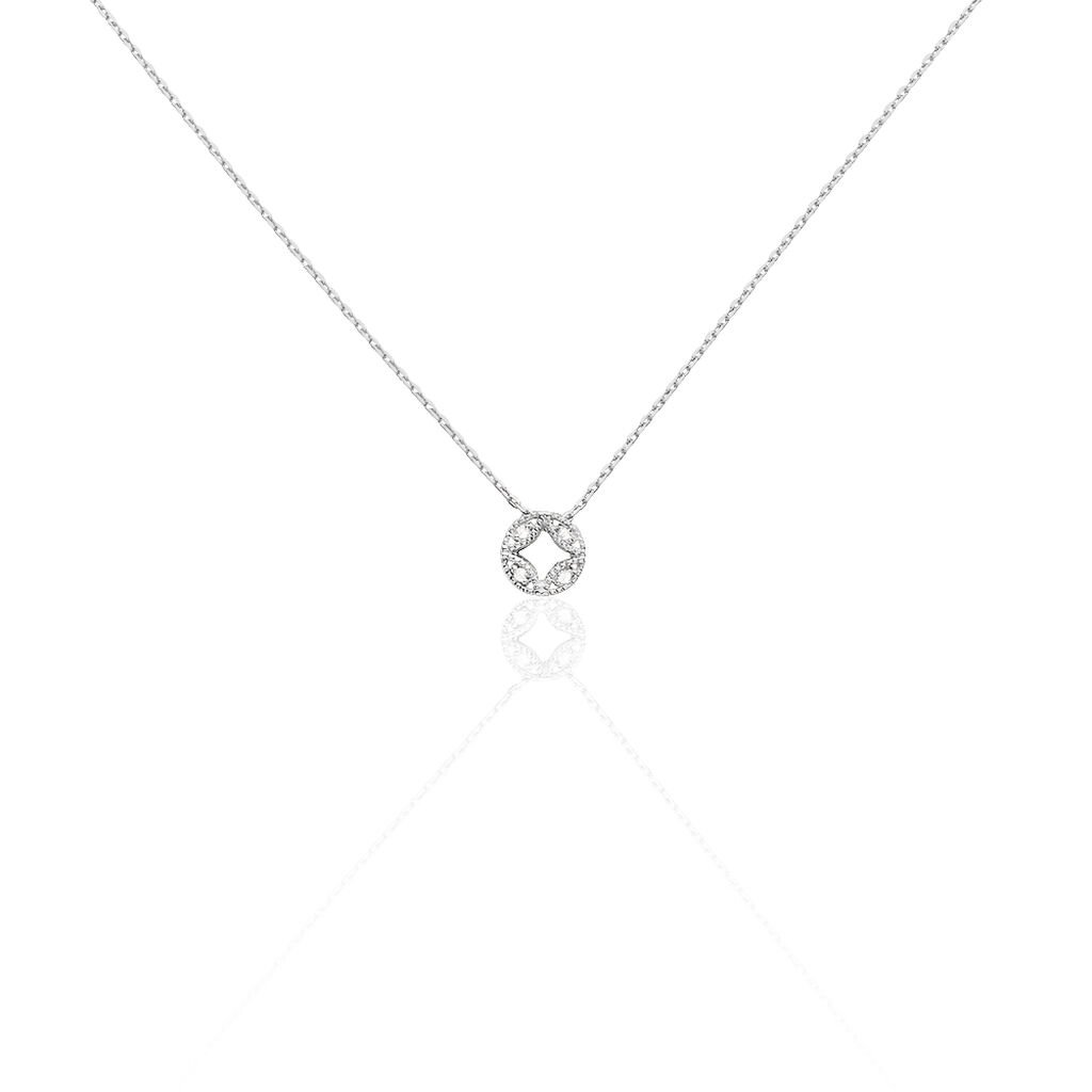 Collier Luciana Or Blanc Diamant - Colliers Trèfle Femme   Histoire d'Or