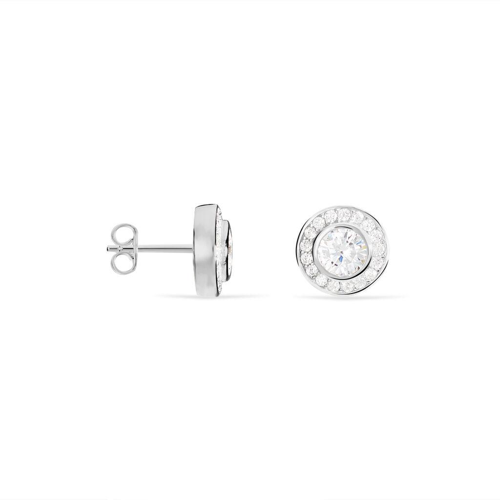 Boucles D'oreilles Puces Marquise Argent Blanc Oxyde De Zirconium - Boucles d'oreilles fantaisie Femme | Histoire d'Or