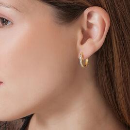 Créoles Illusion Huit Or Jaune Strass - Boucles d'oreilles créoles Femme   Histoire d'Or