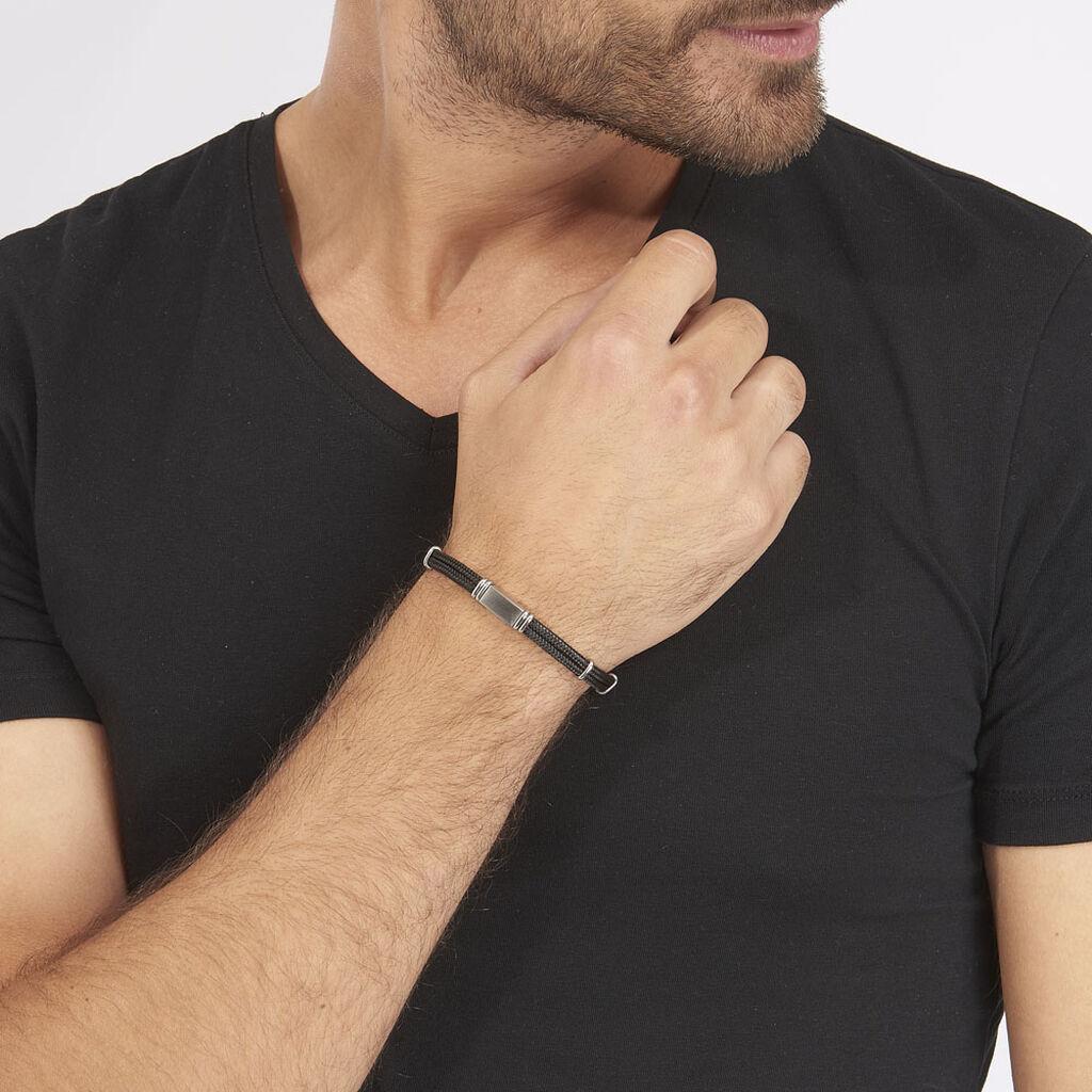 Bracelet Yannik Acier Blanc - Bracelets cordon Homme | Histoire d'Or