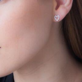 Boucles D'oreilles Puces Isolda Or Blanc Oxyde De Zirconium - Boucles d'Oreilles Coeur Femme | Histoire d'Or