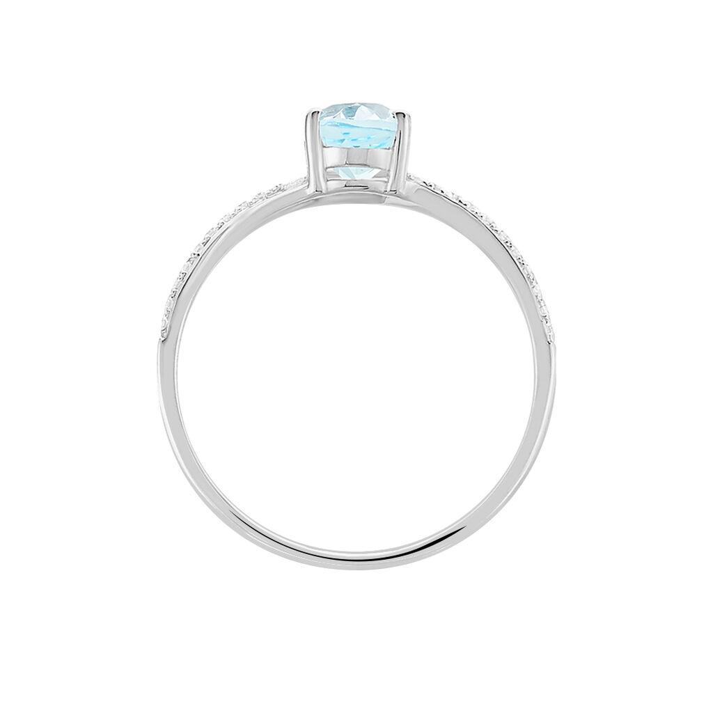 Bague Melyahae Or Blanc Topaze Et Diamant - Bagues avec pierre Femme   Histoire d'Or