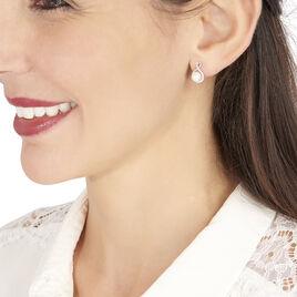 Boucles D'oreilles Puces Davy Or Blanc Perle De Culture Et Diamant - Clous d'oreilles Femme   Histoire d'Or
