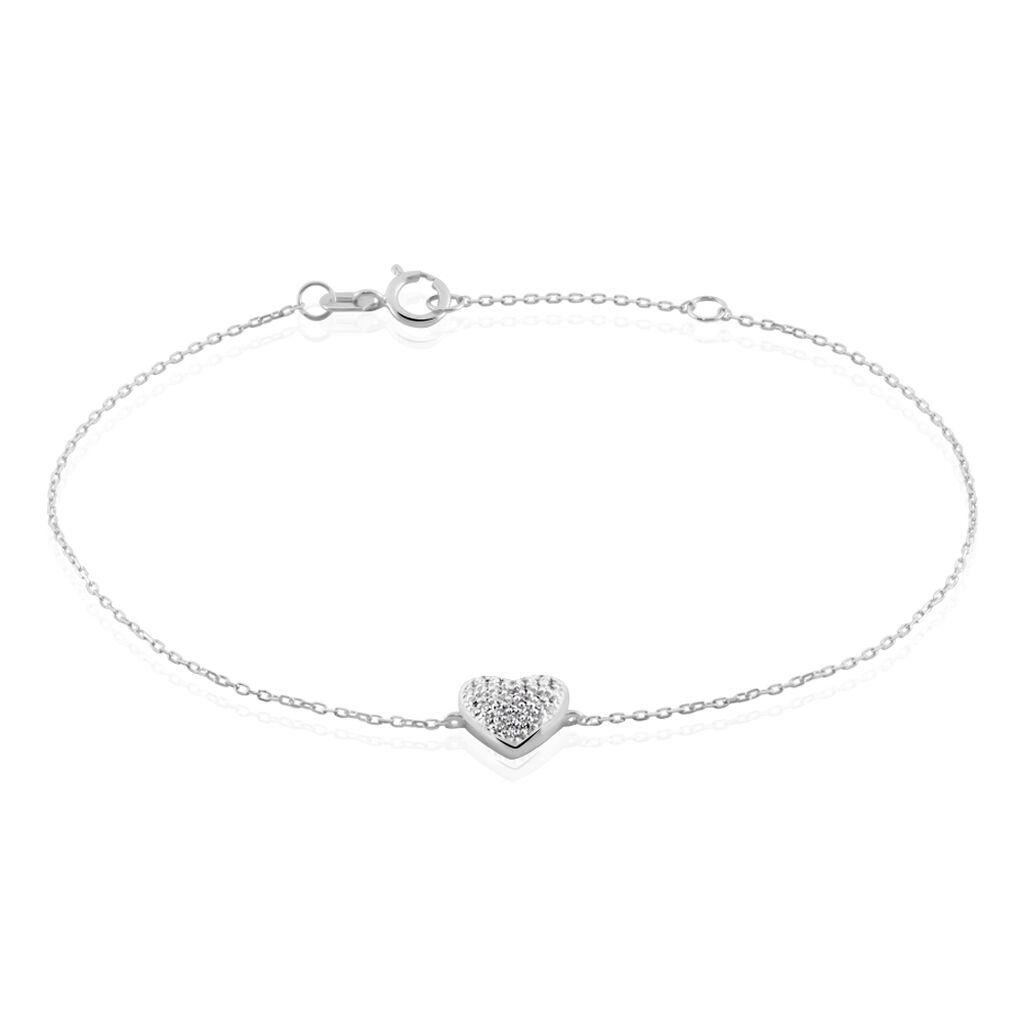 Bracelet Dann Or Blanc Oxyde De Zirconium - Bracelets Coeur Femme | Histoire d'Or