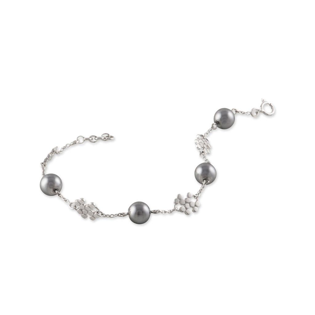 Bracelet Leilla Argent Blanc Perle D'imitation Et Oxyde De Zirconium - Bracelets fantaisie Femme | Histoire d'Or
