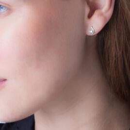 Boucles D'oreilles Puces Vrille Accompagnee Or Blanc Diamant - Clous d'oreilles Femme | Histoire d'Or