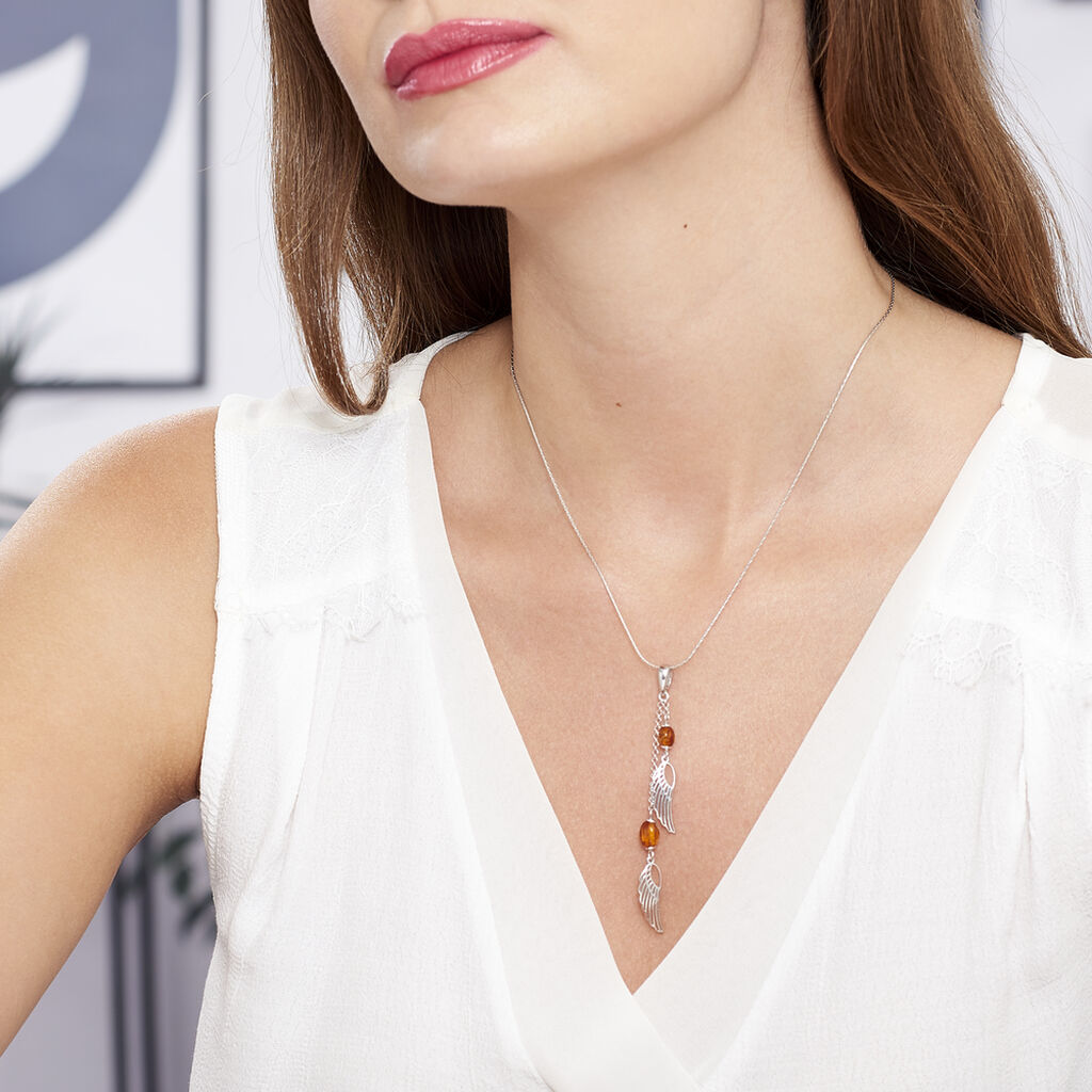Collier Aglaee Argent Blanc Ambre - Colliers fantaisie Femme | Histoire d'Or