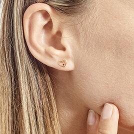Boucles D'oreilles Puces Martella Or Jaune Rubis - Boucles d'Oreilles Coeur Femme | Histoire d'Or