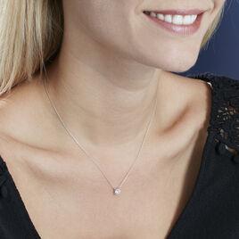 Collier Or Blanc Victoria Solitaire Diamant Synthetique - Bijoux Femme   Histoire d'Or