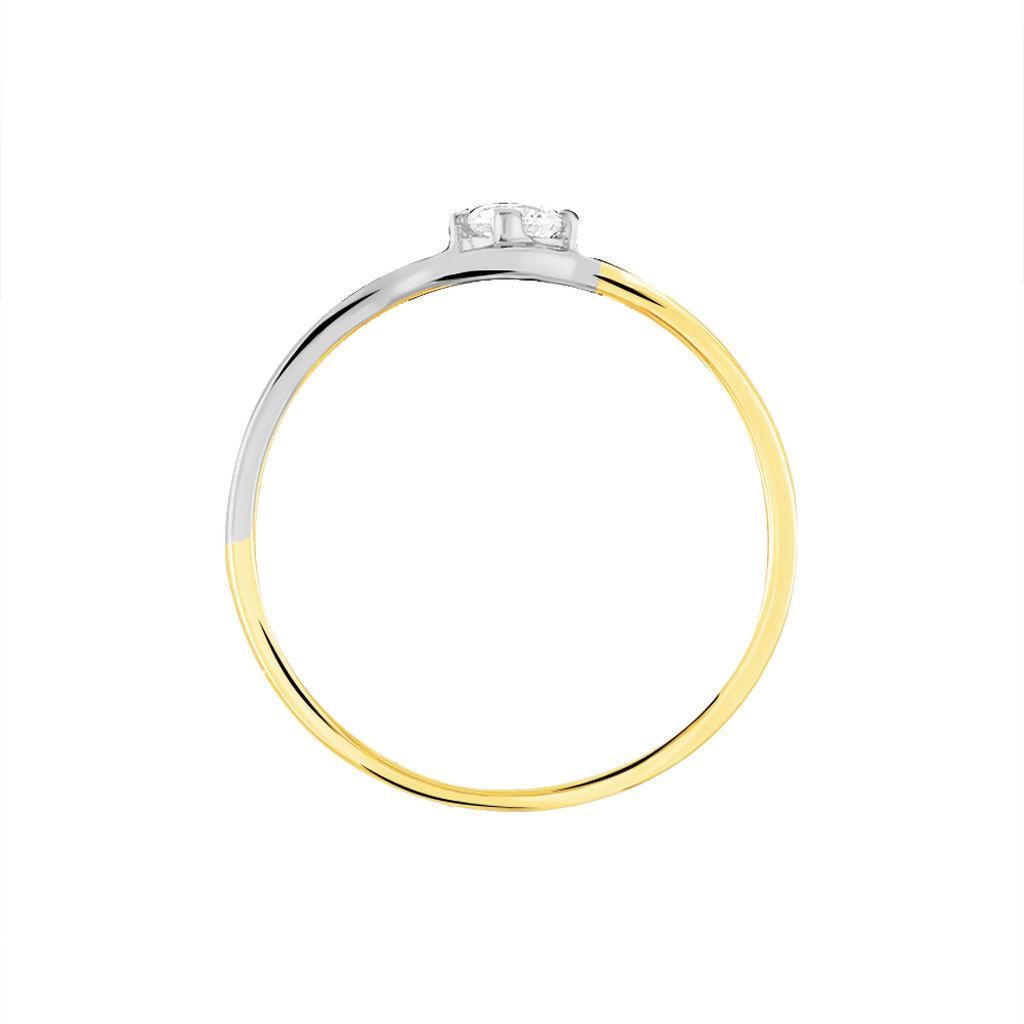 Bague Croise Or Bicolore Oxyde De Zirconium - Bagues solitaires Femme | Histoire d'Or
