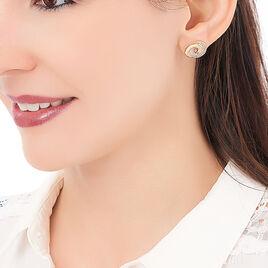 Boucles D'oreilles Puces Caitriona Plaque Or Jaune Oxyde De Zirconium - Boucles d'oreilles fantaisie Femme   Histoire d'Or