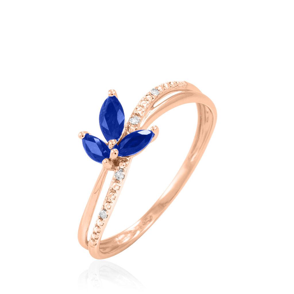 Bague Maura Or Rose Saphir Et Diamant - Bagues avec pierre Femme | Histoire d'Or