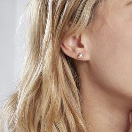 Boucles D'oreilles Puces Abelinia Plaque Or Jaune Oxyde De Zirconium - Boucles d'Oreilles Coeur Femme   Histoire d'Or