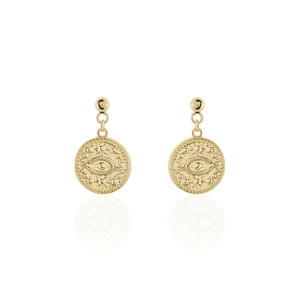 Boucles D'oreilles Pendantes Taneya Plaque Or Jaune - Boucles d'oreilles fantaisie Femme | Histoire d'Or