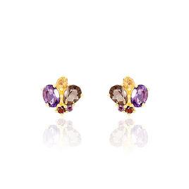 Boucles D'oreilles Pendantes Or Jaune Amethyste Et Quartz Et Citrine - Boucles d'oreilles pendantes Femme | Histoire d'Or