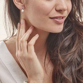 Boucles D'oreilles Pendantes Dolores Argent Perle De Culture Et Oxyde - Boucles d'oreilles fantaisie Femme | Histoire d'Or