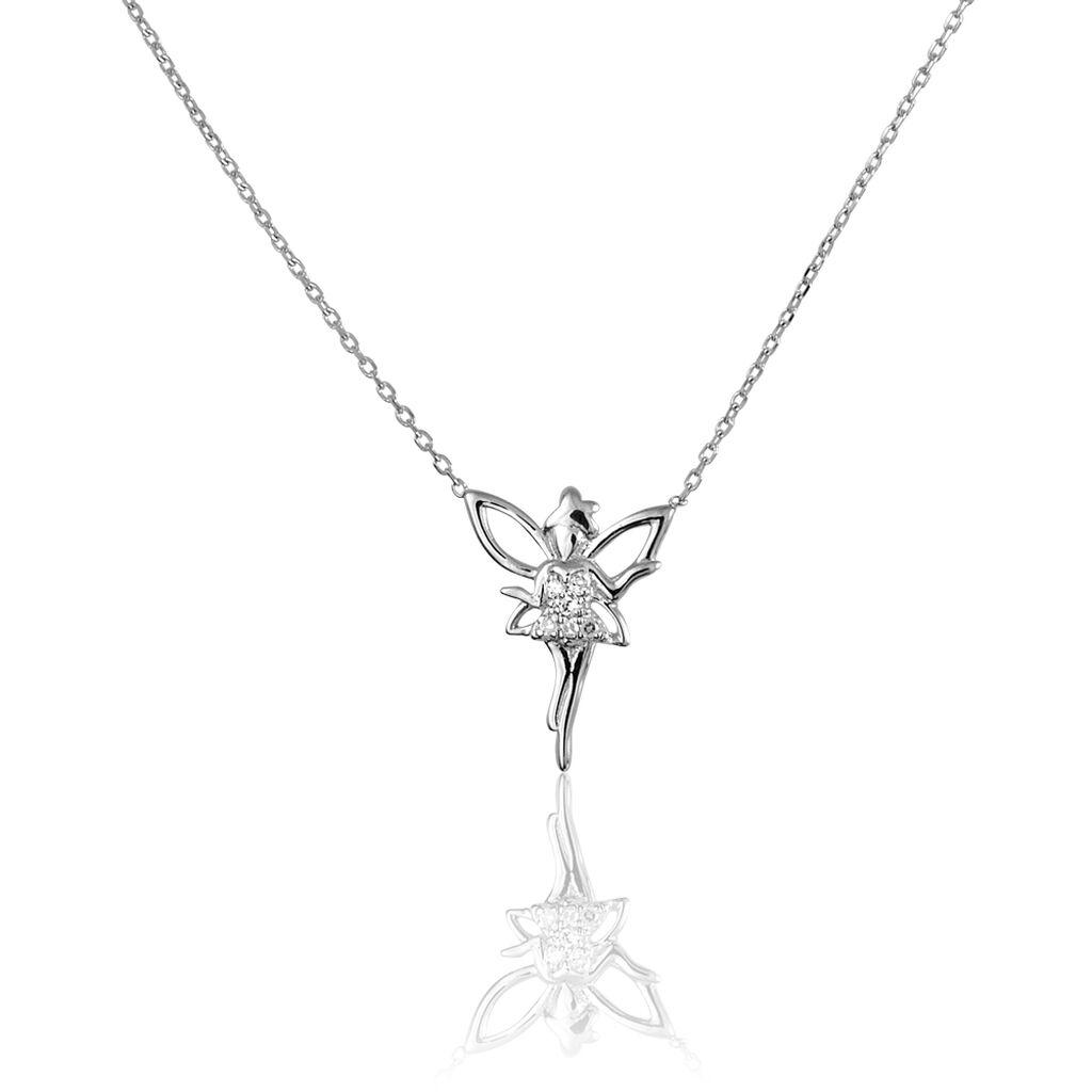 Collier Fee Or Blanc Diamant - Bijoux Femme   Histoire d'Or