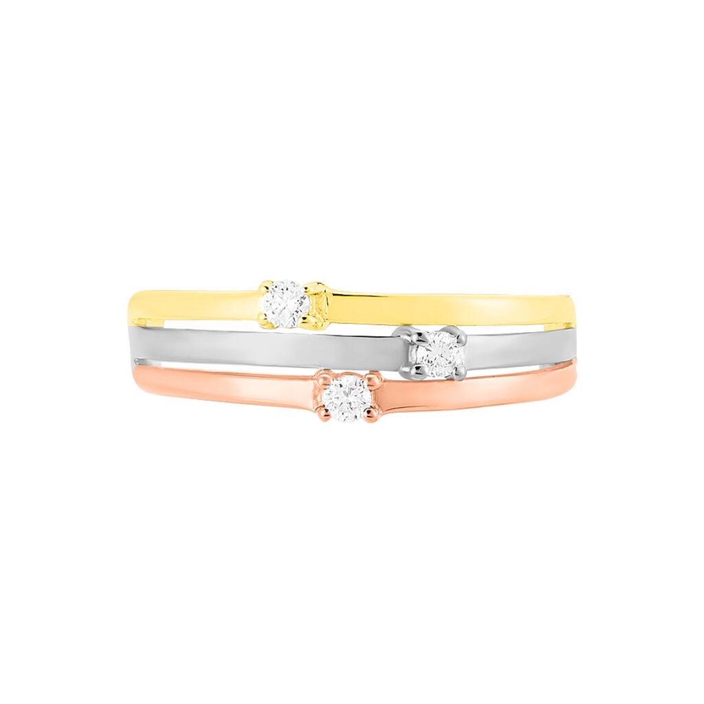 Bague Superposition Or Tricolore Diamant - Bagues avec pierre Femme   Histoire d'Or