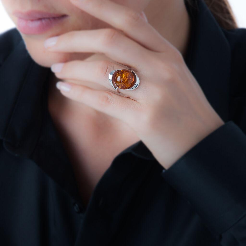 Bague Berthine Argent Blanc Ambre - Bagues solitaires Femme   Histoire d'Or