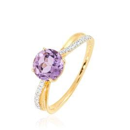Bague Or Jaune Amethyste Et Diamant - Bagues avec pierre Femme | Histoire d'Or