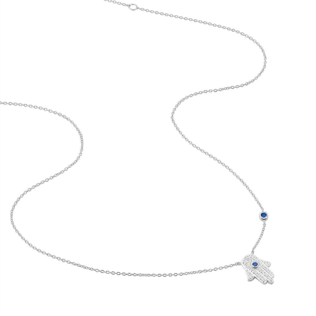 Collier Symbolique Argent Blanc Oxyde De Zirconium - Colliers Main de Fatma Femme | Histoire d'Or