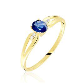 Bague Or Jaune Ebrard Saphir Diamants - Bagues solitaires Femme   Histoire d'Or
